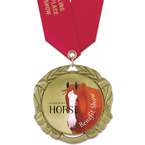 XBX Full Color Horse Show Award Medal w/ Satin Neck Ribbon