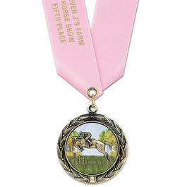 HBXC Color Fill Horse Show Award Medals w/  Satin Neck Ribbon