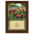 Horses in Field Award Plaque - Cherry Finish