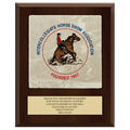 Full Color Horse Show Award Plaque  - Cherry Finish w/ Tumbled Stone Tile & Engraved Plate