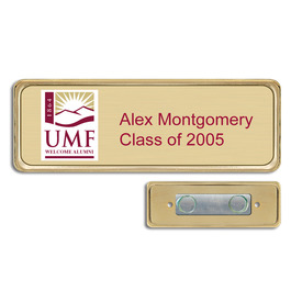 Brushed Gold Name Tag w/ Executive Metal Frame - Magnet