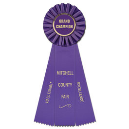 Ideal Fair, Festival & 4-H Rosette Award Ribbon w/ 3 Streamer Printing