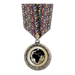 LBX Metallic Medal w/ Multicolor Neck Ribbon