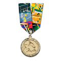 MC Sports Award Medal w/ Multicolor Neck Ribbon