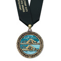 LXC Color Fill Athletic Award Medal w/ Any Satin Neck Ribbon