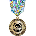 Metallic GFL Swim Award Medal w/ Any Multicolor Neck Ribbon