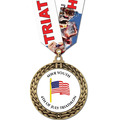 Full Color GFL Swim Award Medal w/ Any Multicolor Neck Ribbon