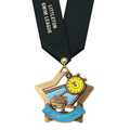 XSC Color Fill Star Athletic Award Medal w/ Any Satin Neck Ribbon