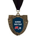 Full Color MS Mega Shield Swim Award Medal w/ Any Grosgrain Neck Ribbon