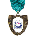 Full Color MS Mega Shield Swim Award Medal w/ Any Multicolor Neck Ribbon