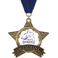 Full Color AS All Star Swim Award Medal w/ Any Grosgrain Neck Ribbon
