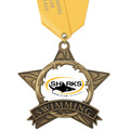 Full Color AS All Star Swim Award Medal w/ Any Satin Neck Ribbon