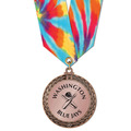 Metallic LFL Sports Award Medal w/ Any Multicolor Neck Ribbon