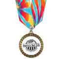Full Color LFL Sports Award Medal w/ Any Multicolor Neck Ribbon
