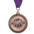 Metallic GFL Award Medal w/ Any Grosgrain Neck Ribbon