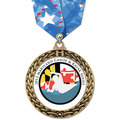 Full Color GFL Sports Award Medal w/ Any Multicolor Neck Ribbon