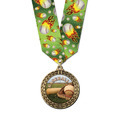 Full Color LFL Baseball Award Medal w/ Any Multicolor Neck Ribbon