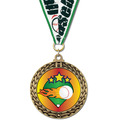 Full Color GFL Baseball Award Medal w/ Any Grosgrain Neck Ribbon