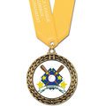 Full Color GFL Baseball Award Medal w/ Any Satin Neck Ribbon