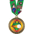 Full Color GFL Baseball Award Medal w/ Any Multicolor Neck Ribbon