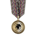 Metallic LFL Horse Show Award Medal w/ Any Multicolor Neck Ribbon