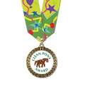 Full Color LFL Horse Show Award Medal w/ Any Multicolor Neck Ribbon