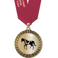 Metallic GFL Horse Show Award Medal w/ Any Satin Neck Ribbon
