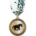Metallic GFL Horse Show Award Medal w/ Any Multicolor Neck Ribbon
