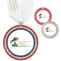 Full Color GEM Horse Show Award Medal w/ Any Satin Neck Ribbon