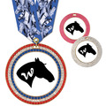 Full Color GEM Horse Show Award Medal w/ Any Multicolor Neck Ribbon