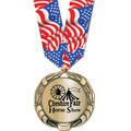 XBX Metallic Award Medal w/ Multicolor Neck Ribbon