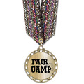 ST Metallic Award Medal w/ Multicolor Neck Ribbon