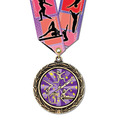 LXC Color Fill Athletic Award Medal w/ Any Multicolor Neck Ribbon