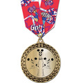 Metallic GFL Gymnastics Award Medal w/ Any Multicolor Neck Ribbon