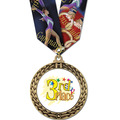 Full Color GFL Gymnastics Award Medal w/ Any Multicolor Neck Ribbon