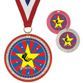 Full Color GEM Gymnastics Award Medal w/ Any Grosgrain Neck Ribbon