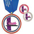 Full Color GEM Gymnastics Award Medal w/ Any Satin Neck Ribbon