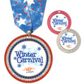 Full Color GEM Award Medal w/ Any Multicolor Neck Ribbon