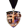 CSM Shield Athletic Award Medal w/ Any Grosgrain Neck Ribbon