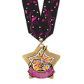 XSC Color Fill Star Athletic Award Medal w/ Any Multicolor Neck Ribbon