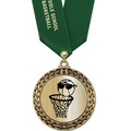 Metallic GFL Basketball Award Medal w/ Any Satin Neck Ribbon