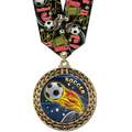 Full Color GFL Soccer Award Medal w/ Any Multicolor Neck Ribbon