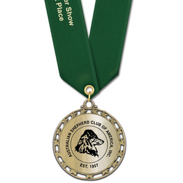 ST14 Star Metallic Dog Show Medal w/ Any Solid Satin Neck Ribbon 