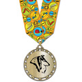 ST14 Star Metallic Dog Show Medal w/ Multicolor Neck Ribbon