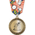 Metallic GFL Track & Field Award Medal w/ Any Multicolor Neck Ribbon
