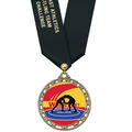 ST14 Star Full Color Wrestling Award Medal w/ Any Satin Neck Ribbon