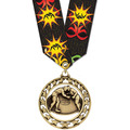Star Wrestling Award Medal w/ Any Multicolor Neck Ribbon