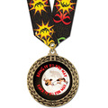 Full Color GFL Wrestling Award Medal w/ Any Multicolor Neck Ribbon