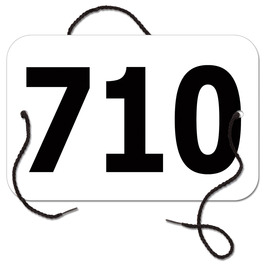 Stock Large Rectangular Rider Number w/ String