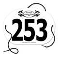 Custom Large Oval Exhibitor Number w/ String